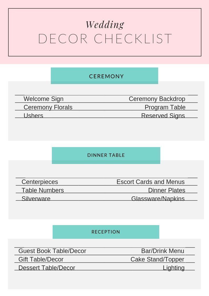 Wedding Decor Checklist From Indiana Day Of Wedding Coordinator Hoosier By Design Easy Wedding Planner In 2019 Wedding Coordinator Checklist Wedding