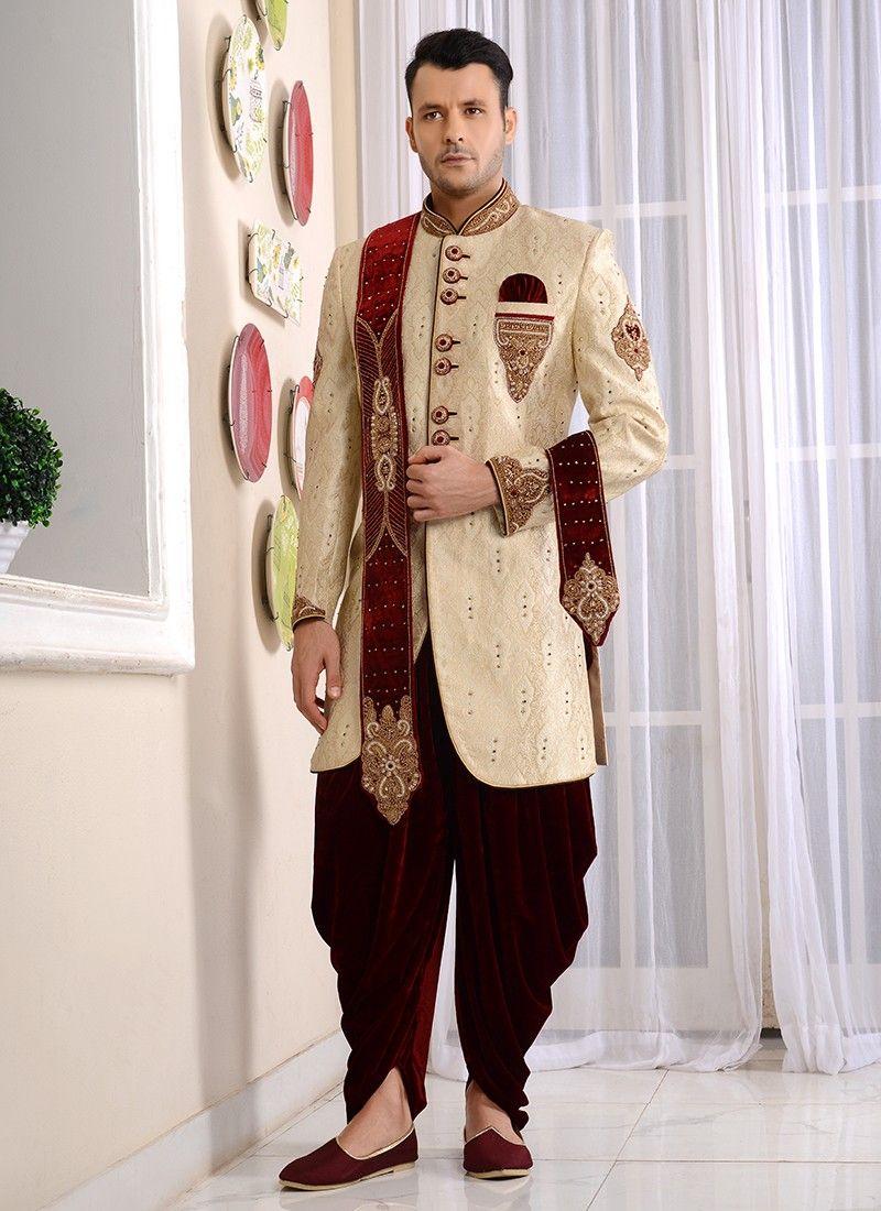Designer Cream Jacquard Embroidered Groom Wear Sherwani Sherwani For Men Wedding Traditional Indian Mens Clothing Indian Wedding Clothes For Men