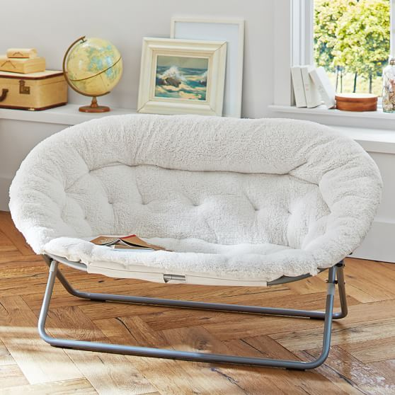 Nice Ivory Sherpa Double Hang A Round Chair | PBteen