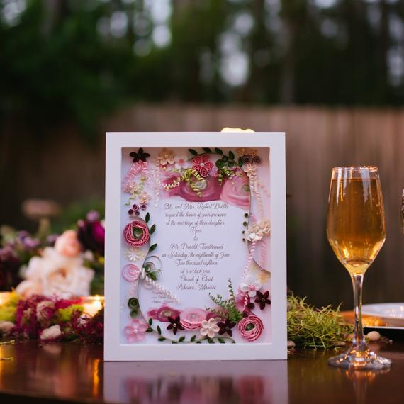 Keepsake Wedding Gifts: Personalized Burgundy, Fuschia And Pink Floral Wedding
