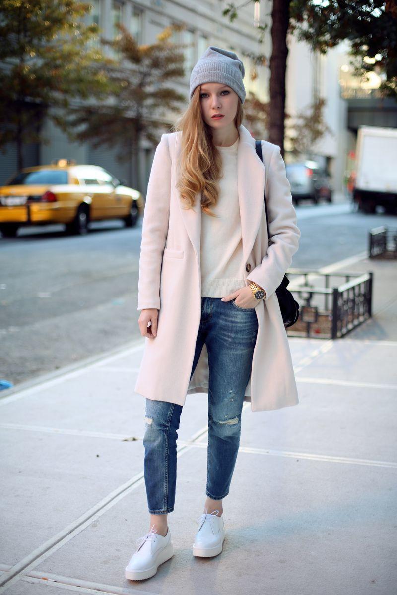 Emerson Fry coat, Uniqlo sweater  beanie, Zara jeans  shoes, Proenza Schouler bag, Michael Kors watch.