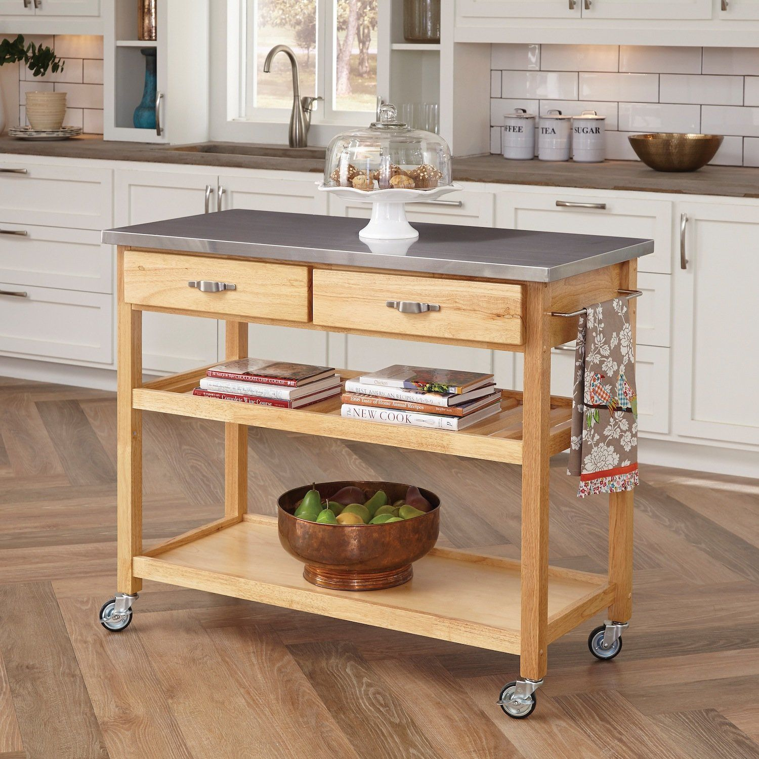 Small Bamboo Stainlesssteel Top Kitchen Cart