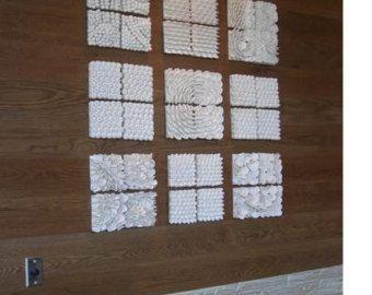 Ceramic coral reef art tiles – 15″ x 15″ beach art, coral sculpture, coastal living, nautical sculpture, ceramic wall art, star fish, fish