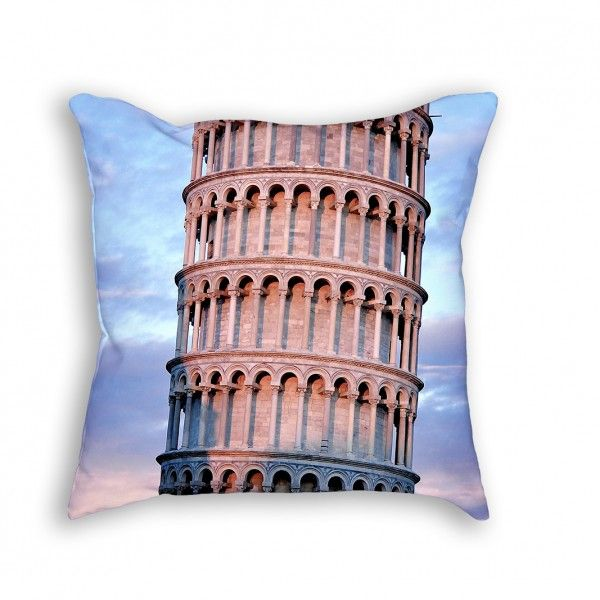 """Throw Pillow with Stuffing/Insert – """"Torre di Pisa"""" 