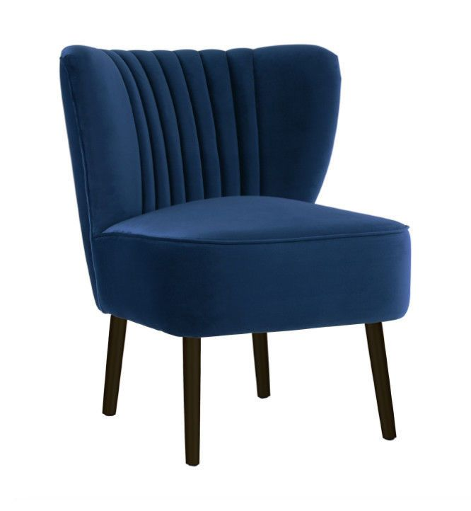 Best Details About French Navy Chair Velvet Black Legs Accent 400 x 300
