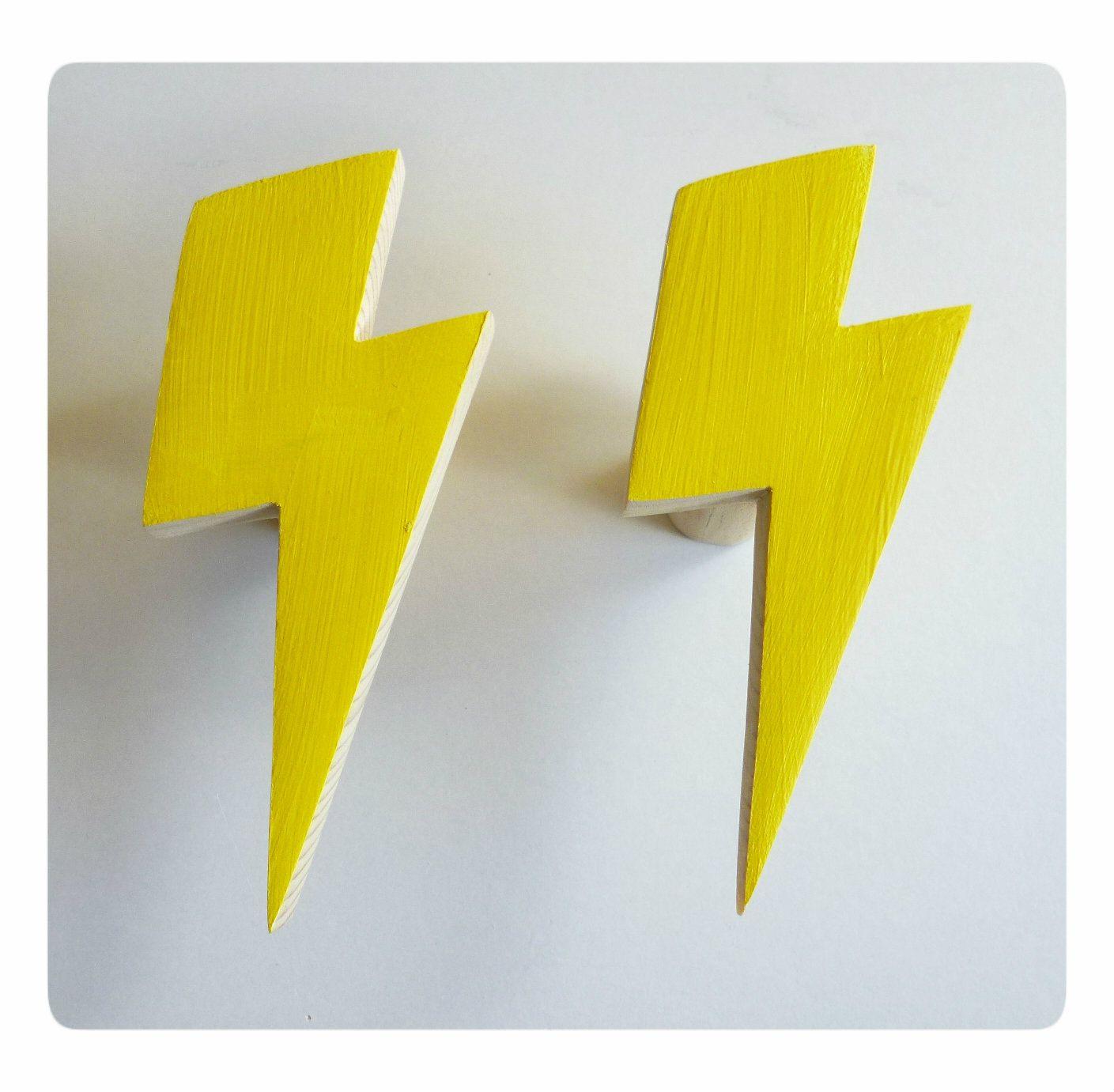 Lightning bolt wall hook - yellow wall hook - decorative hook ...