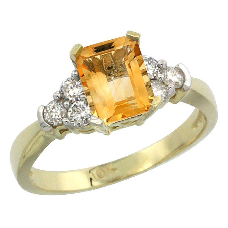 10K Yellow Gold Natural Citrine Ring Octagon 7x5mm Diamond