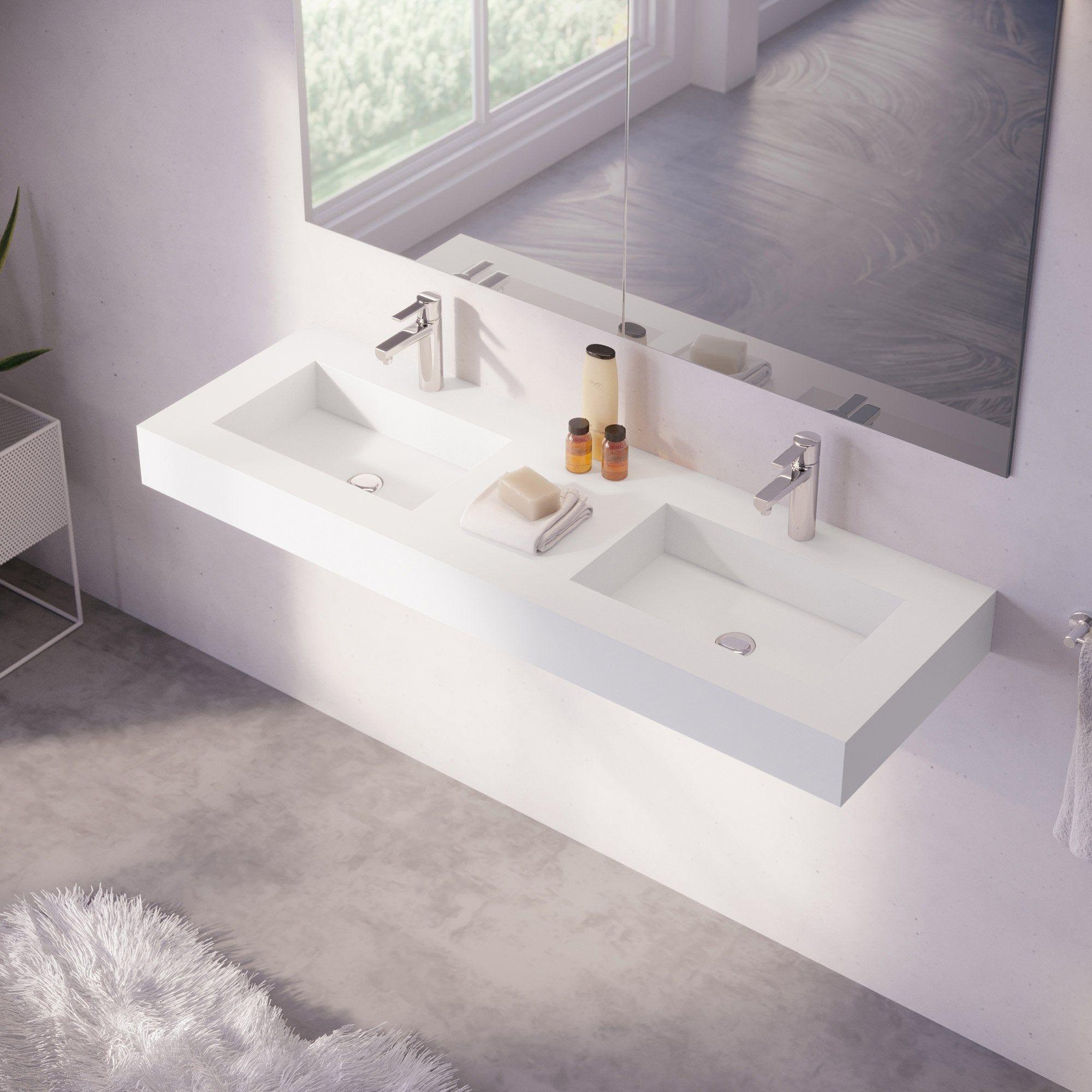 Plan Vasque En Pierre plan vasque double série microplus pierre blanc l.151 basins
