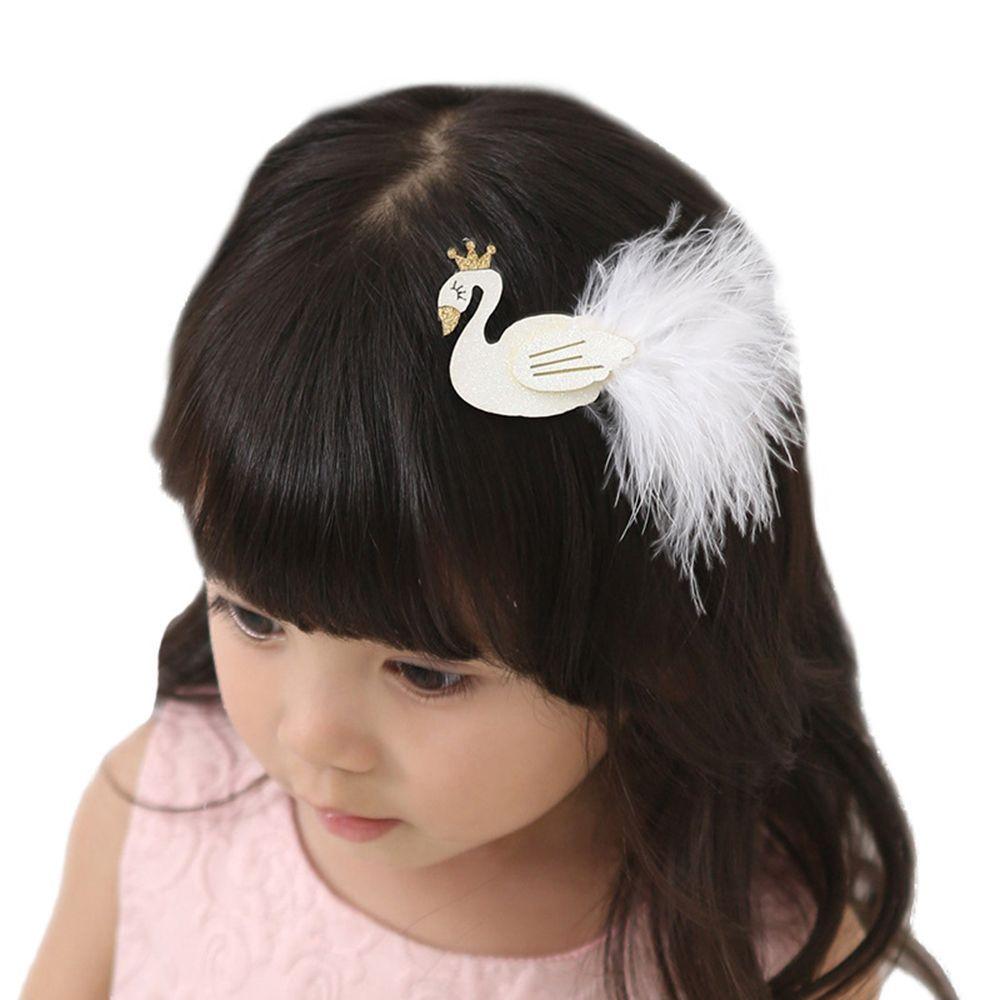 remise chaude mignonne nouveaux produits chauds Pinces à cheveux cygnes paillettes blanches / noires avec ...