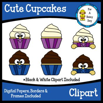 Cute Cupcakes Clipart With Digital Papers Borders Frames Page