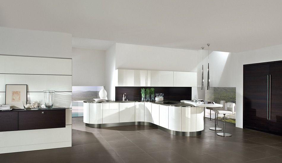 Einbauküche Diamant Grifflos Weiß/Schwarz Hochglanz Lack | Kitchen ...