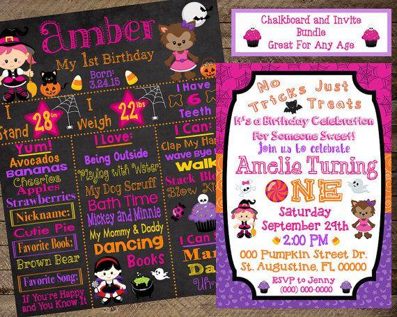 Halloween First Birthday Chalkboard Theme