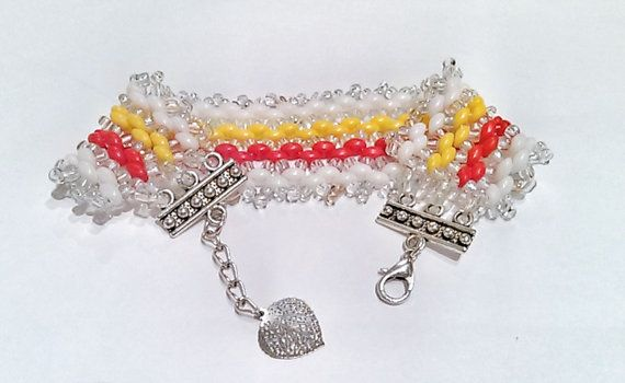 White Vermilion and Yellow Beadwork Bracelet-Electric by DuMoments