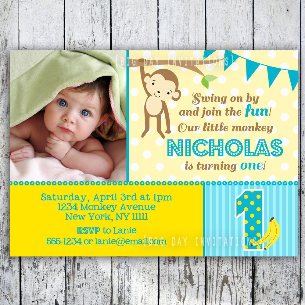 Mod Monkey Birthday Invitation 1st Birthday Polka Dot Birthday Party ...