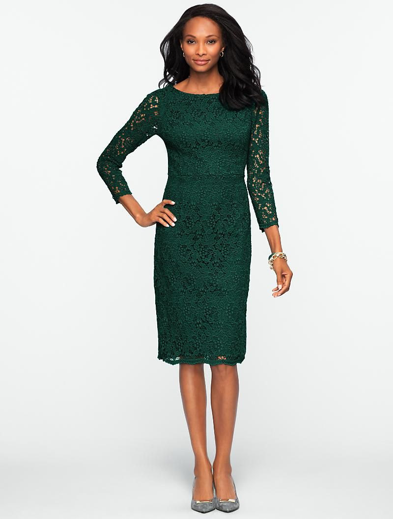 Talbots Autumn Leaf Lace Dress Misses