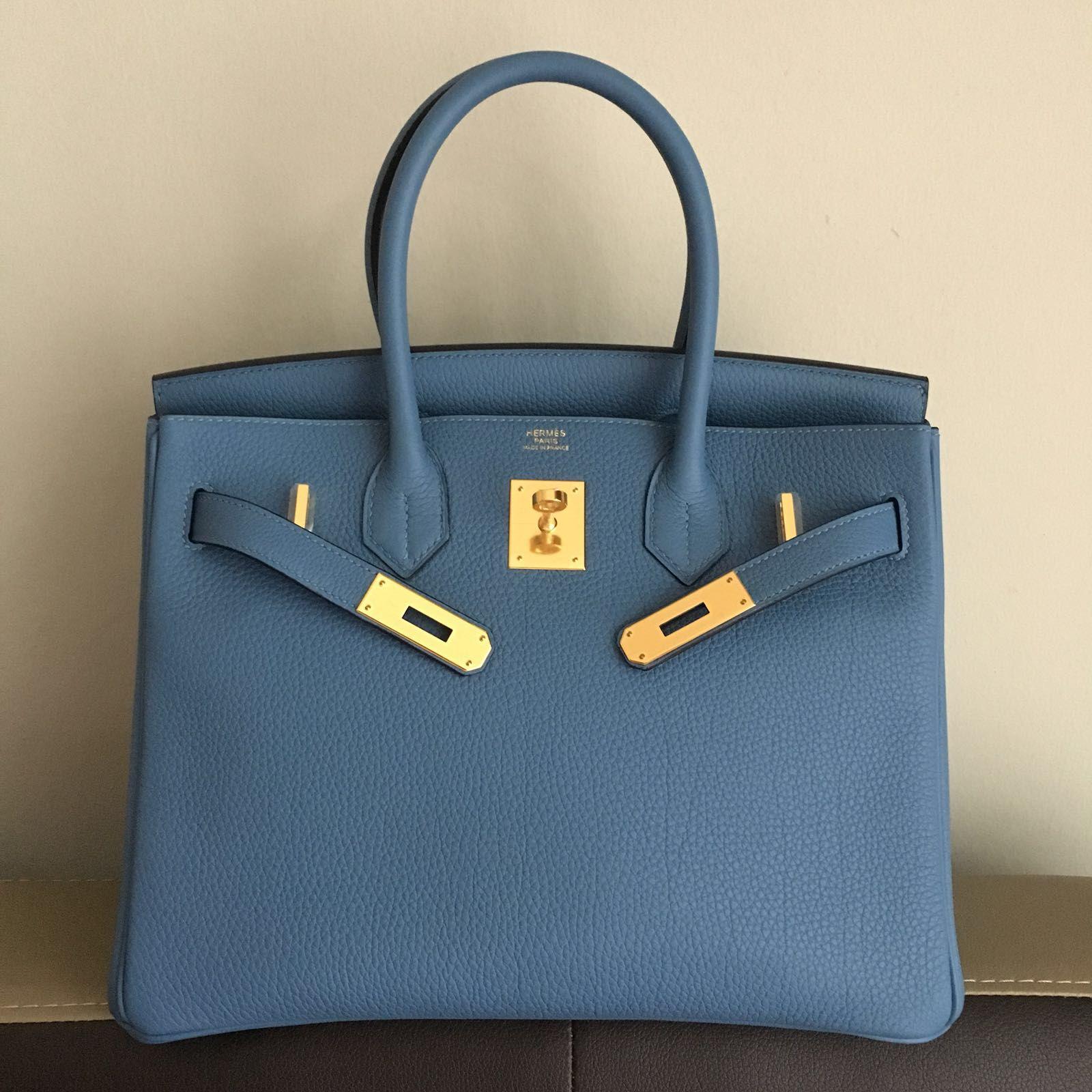 6d9c6f9ed5 Hermès Birkin 30 Bleu Azur Togo Gold Hardware GHW C Stamp 2018  birkin30   thefrenchhunter
