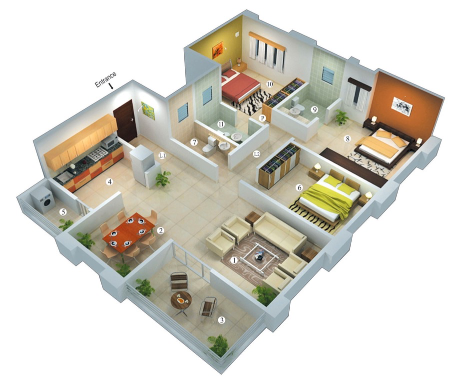 25 more 3 bedroom 3d floor plans 3d bedrooms and house for Small house design 3d