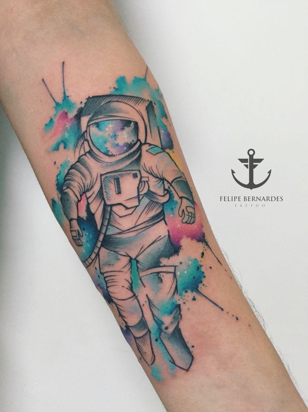 Watercolor tattoo artists in houston texas - Tattoo By Felipe Bernardes Brazilian Tattoo Artist Watercolor Sketch Work Astronaut