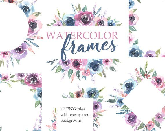 Watercolor Floral Clipart Frames Borders Bright Arrangements
