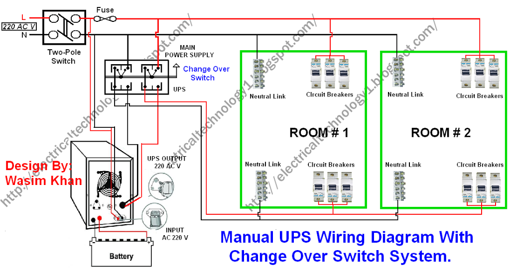Manual & Auto UPS / Inverter Wiring Diagram with Changeover Switch on ups battery, ups power supply schematic, ups design schematic, ups transformer schematic,