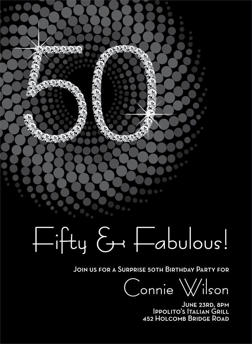 Diamond Numbers 50th Milestone Birthday Invitations By Noteworthy