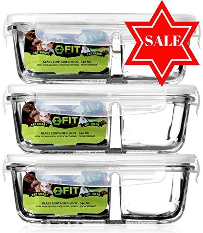 Glass Food Storage Containers With Locking Lids Glass Meal Prep Food Storage Containers With Lids 3 Pack  2
