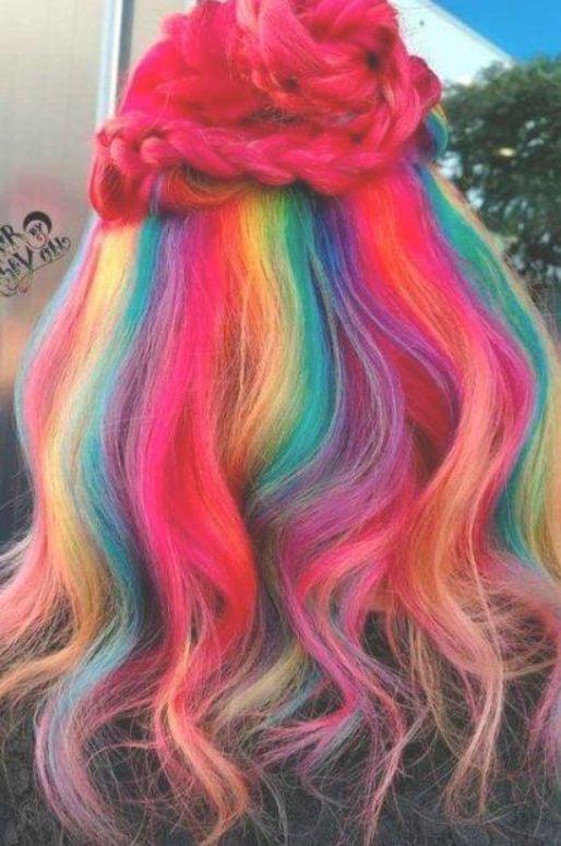 Hair rainbow color beauty 16 Ideas #hair #beauty