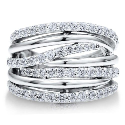Sterling Silver Cz Statement Woven Ring Fashion Rings Sterling Silver Diamond Rings Jewelry