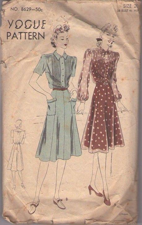 Vogue 8629 Vintage 40's Sewing Pattern BEAUTIFUL WW2 Era Shirtwaist Day Dress, Flap Pockets, Gored Skirt, Pin Tucks #MOMSPatterns