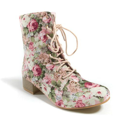 Page Floral Combat Boot