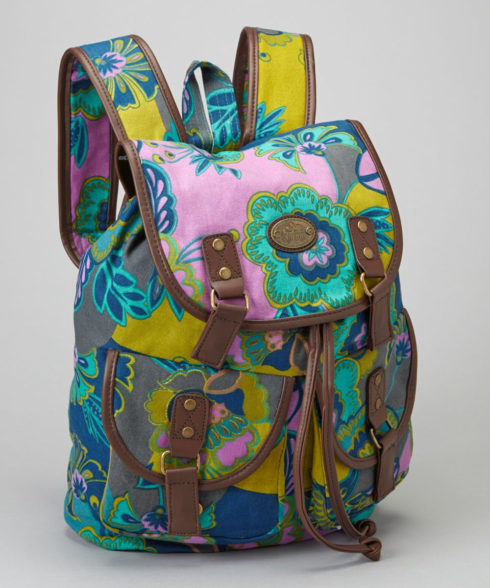 Navy & Pink Floral Backpack