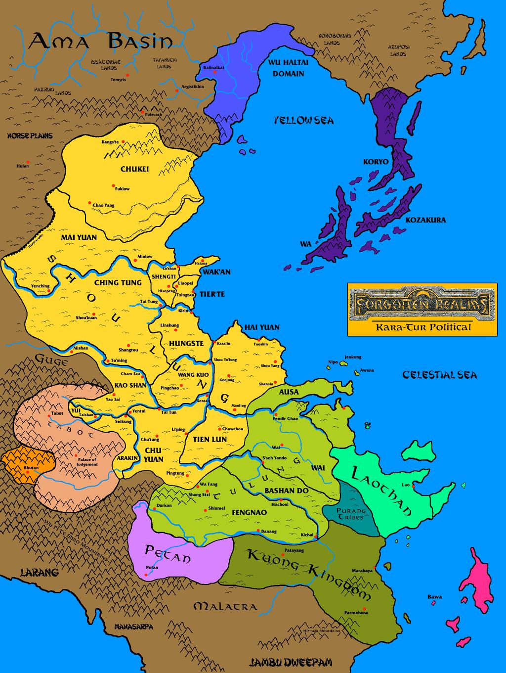 Kara-Tur geopolitical by Grimklok in 2020 | Fantasy map, Map ...