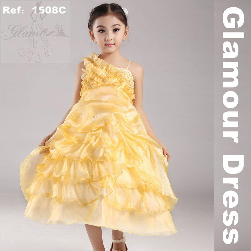 Free Shipping Girl Party Dress 2015 New Yellow Pageant Dresses Kids ...