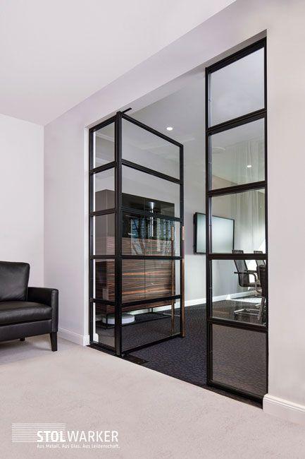 Steel door glass
