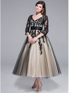 ball-gown v-neck tea-length tulle charmeuse wedding dress with