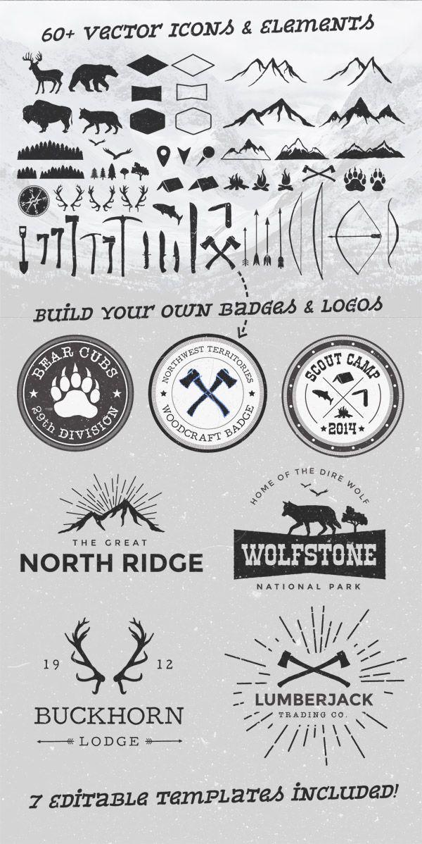 Wild 60 #vector elements + 7 editable badge and logo templates