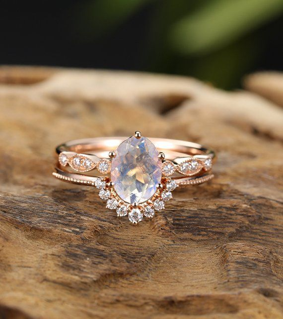 Photo of Moonstone engagement ring set rose gold Unique engagement ring vintage …