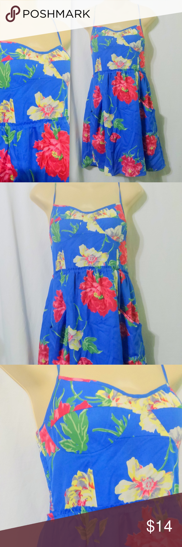 "American Eagle Outfitters Blue Floral Sun Dress This lovely little sundress is made by American Eagle Outfitters and is a size medium. The dress is done in a lined polyester with a pretty floral print. Dress features a built in bra, elastic back and large pockets in the skirt. Measurements are: Bust 36"", waist 28"", hips 44"", length 35"". In beautiful condition! American Eagle Outfitters Dresses Mini"
