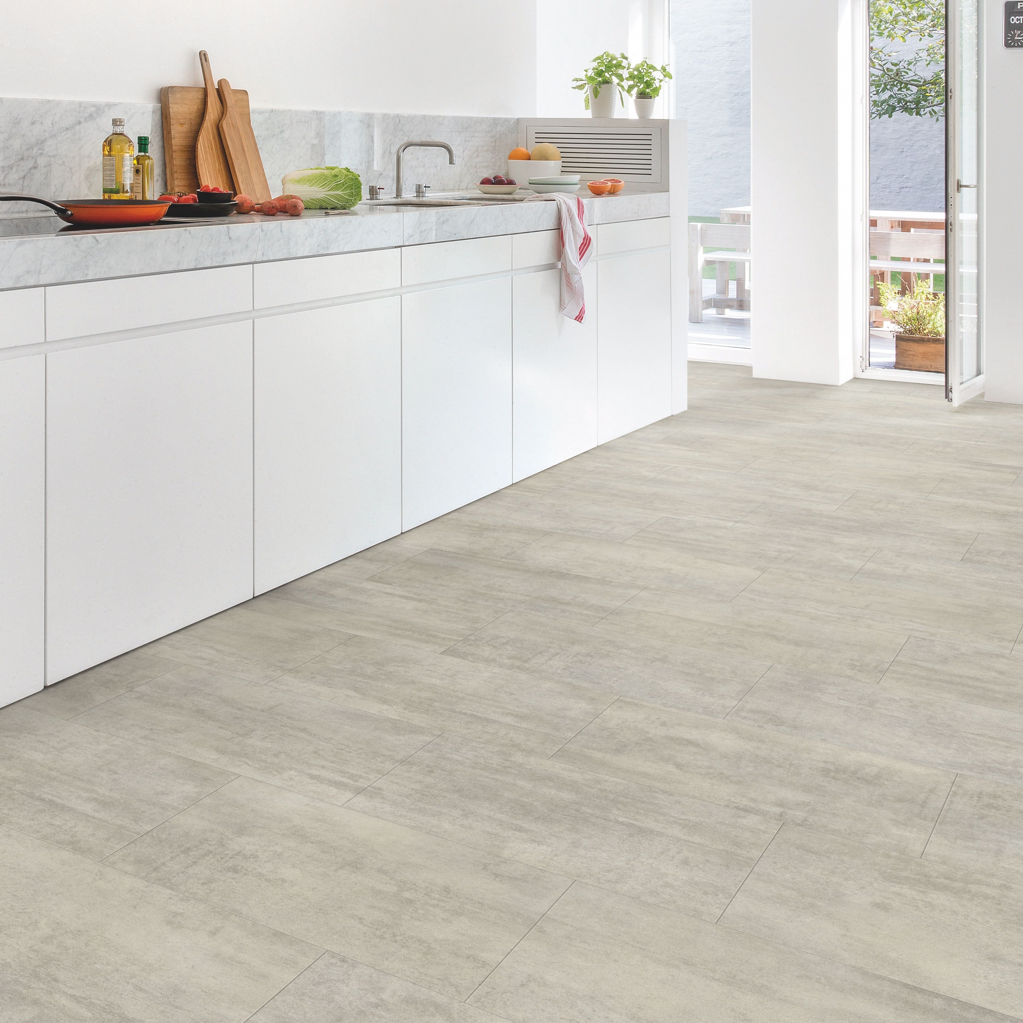 step lima grey travertine effect matt waterproof luxury vinyl tile