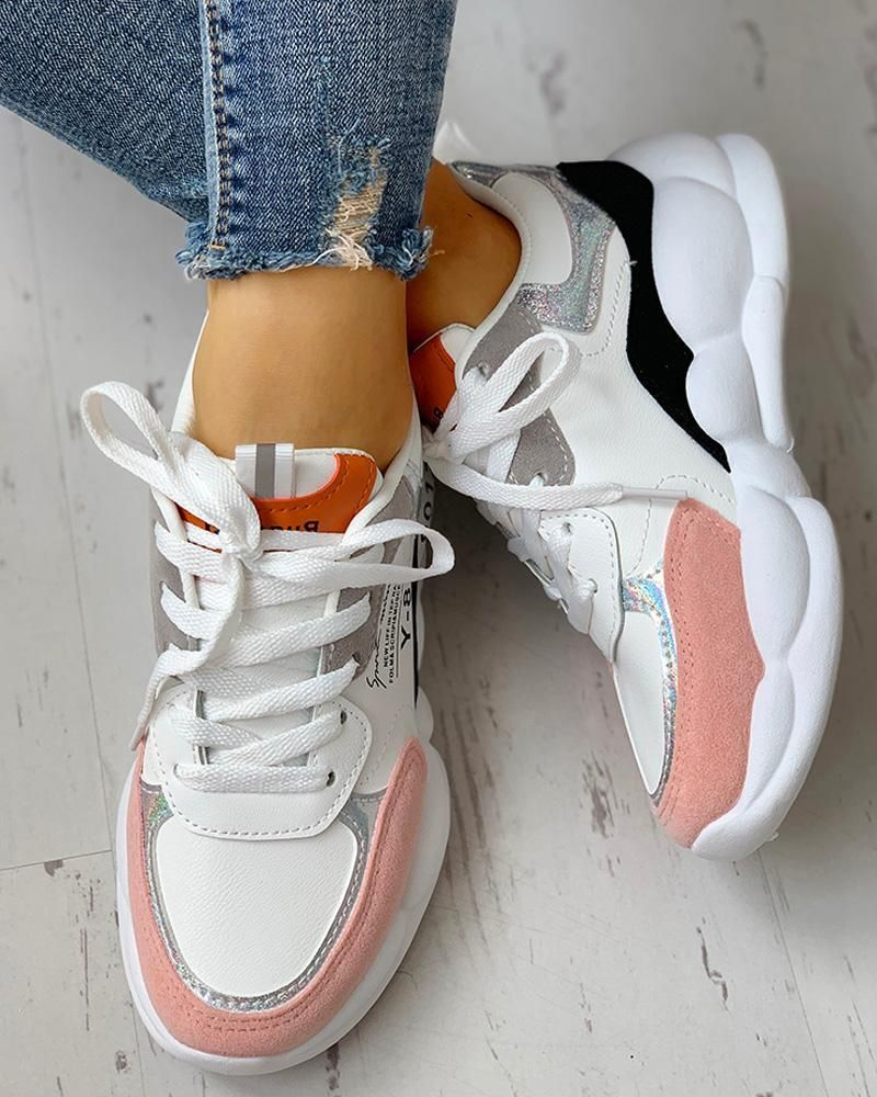 Colorblock Lace Up Muffin Casual Sneakers en 2020 | Zapatos