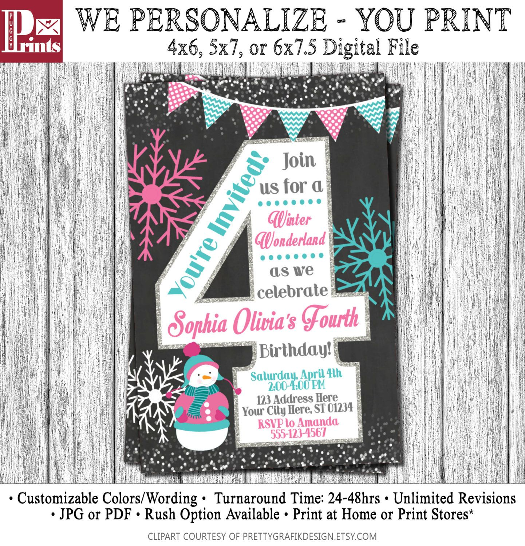 Winter Birthday Invitation - Winter 4th Birthday Invitations ...