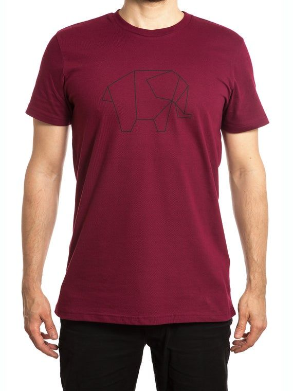 Photo of Fairtrade T-shirt in organic cotton, origami elephant silkscreen