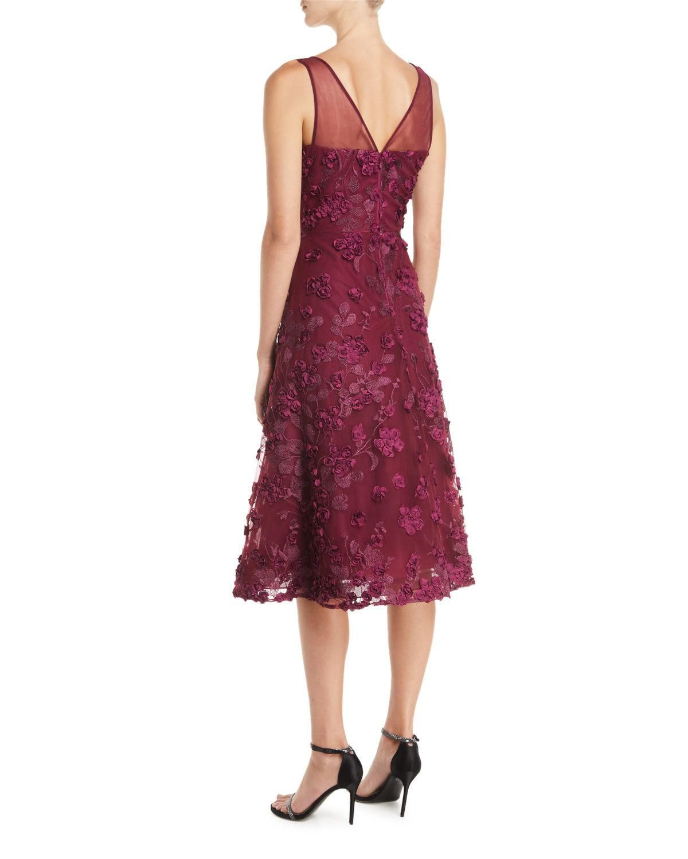 095d2247f0566 Rickie Freeman For Teri Jon Tulle Tea-Length Dress w/ Floral Appliqu&s