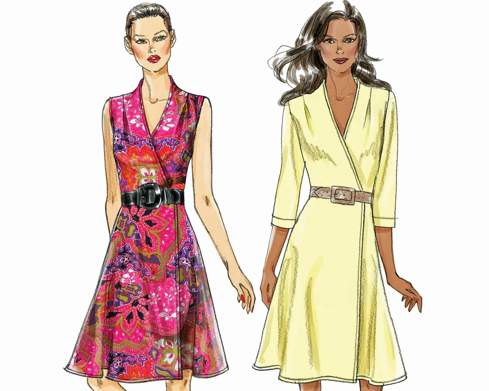 Vogue Sewing Pattern For Wrap Dress In Plus Size Very Easy Etsy Vogue Sewing Patterns Dresses Vogue Dress [ 1270 x 1588 Pixel ]