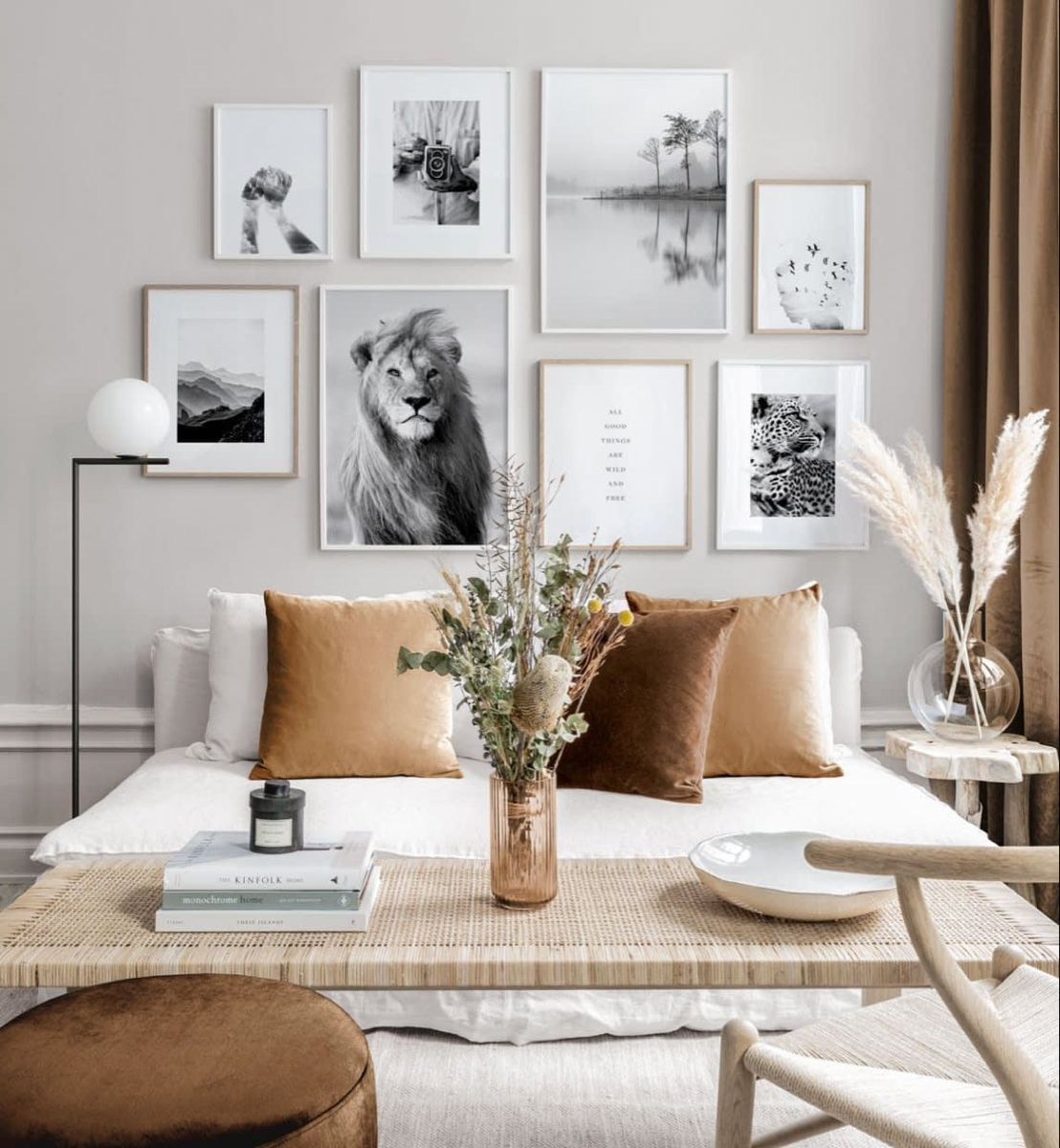 Beige Gallery Wall in earthy colours with black and white