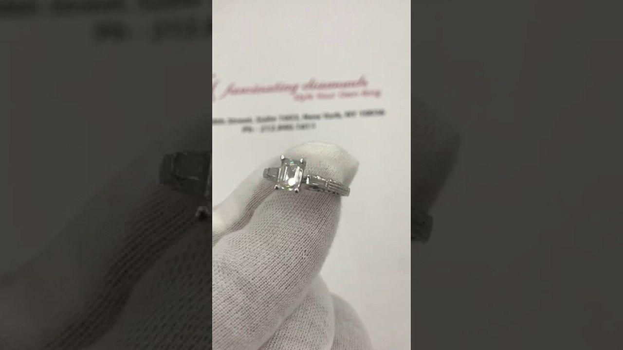 Emerald wedding decor ideas   stone Antique Engraved Emerald cut engagement ring FDENR