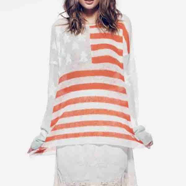 Wildfox Couture Billy Sweater Born on the 4th of July in Seafoam by Wildfox Couture