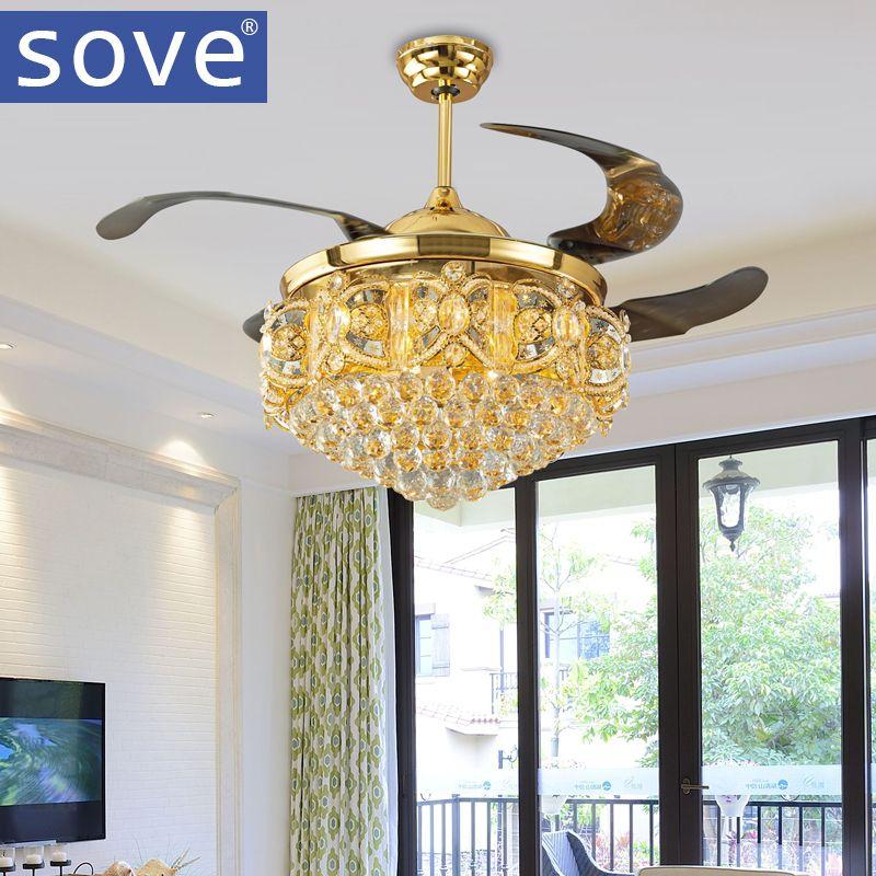 2016 Stealth Gold Ceiling Fan Light Stylish Modern Restaurant Led Folding Crystal Ceiling Fans With Lights Living Room Gold Ceiling Fan Gold Ceiling Fan Light
