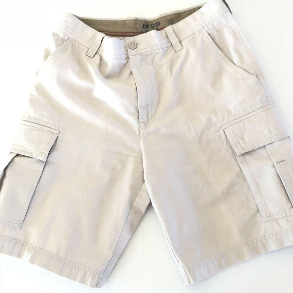 5b3da996b7 IZOD Mens Flat Front Saltwater Cargo Shorts Beige Size 32 #fashion ...