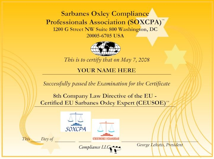Certified Eu Sarbanes Oxley Expert Ceusoe 8th Company Law